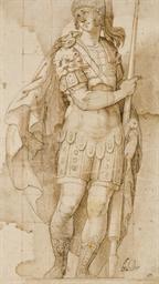 Soldat debout tenant une lance