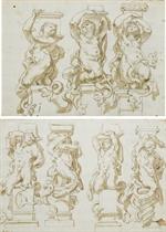 Quatre télamons en forme de tritons (recto); Reprise d'un des télamons (verso); et Trois caryatides en forme de tritons