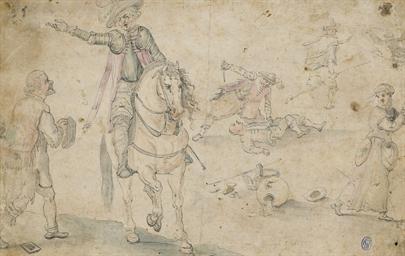 Un cavalier à cheval entouré d