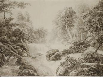 Paysage fluvial, deux hommes s