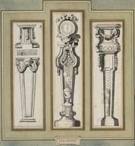 Trois projets de trépieds dont l'un orné d'un brûleur d'encens et d'un cadran