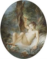 Jeune femme nue assise au bord d'une rivière dans un paysage