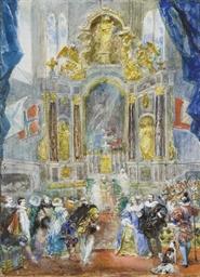 Scène historique dans l'église