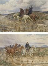 Deux cavaliers à cheval avec un chien; et Deux cavaliers convoyant des chevaux dans la campagne