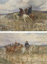 Deux cavaliers à cheval avec u
