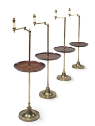 A SET OF FOUR BRASS AND MAHOGA