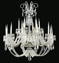A GLASS EIGHTEEN-LIGHT CHANDEL