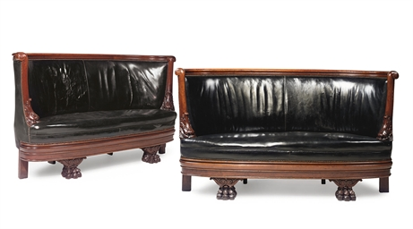 A PAIR OF MAHOGANY CLUB SEATS