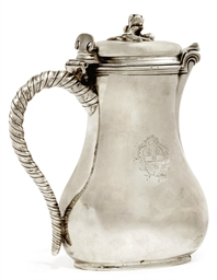 A FRENCH SILVER COVERED JUG