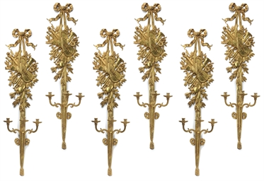 A SET OF SIX LARGE FRENCH GILT