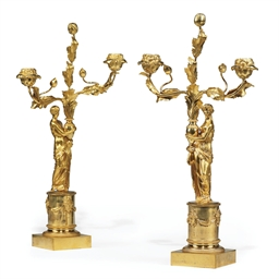 A PAIR OF EMPIRE GILT-BRONZE T