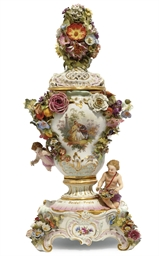 A MEISSEN TWO-HANDLED POT-POUR