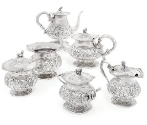 A BRAZILIAN SIX-PIECE SILVER T
