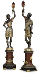 A PAIR OF VENETIAN PARCEL-GILT
