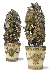 A PAIR OF ITALIAN BEADWORK VAS