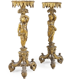 A PAIR OF VENETIAN GILTWOOD TO