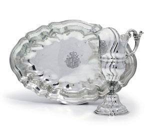 A GERMAN SILVER EWER AND BASIN
