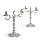 A PAIR OF GERMAN SILVER TWO-LIGHT CANDLEABRA