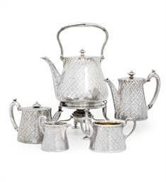 A VICTORIAN FIVE-PIECE SILVER