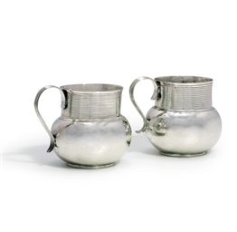 TWO JAMES II SILVER MUGS