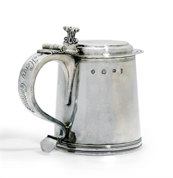 A JAMES II SILVER TANKARD