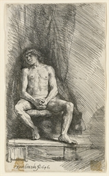 Nude Man seated before a Curta