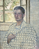 Self-portrait with brush