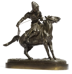 An equestrian bronze model of