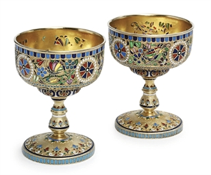 A pair of silver-gilt, plique-