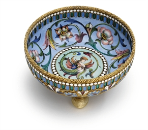 A silver-gilt, cloisonné and e
