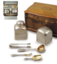 A silver tea-caddy set