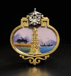 A gold enamel and diamond broo