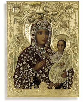 THE MOTHER OF GOD OF SMOLENSK WITH A VELVET COVER EMBROIDERED