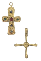 TWO GOLD PECTORAL CROSSES BYZA