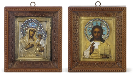 A PAIR OF WEDDING ICONS DEPICT