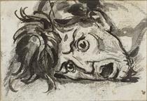 Tête d'homme, la bouche ouverte et les yeux écarquillés (recto); femme couronnée assise, les bras tendus en avant (verso)