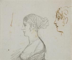 Femme en buste, vue de profil