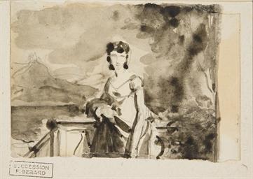 Jeune femme en buste, un paysa