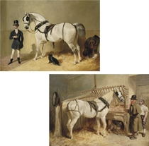 A St James's saddled grey coach horse with a coachman and dog; and A harnessed St Giles cab horse with his driver