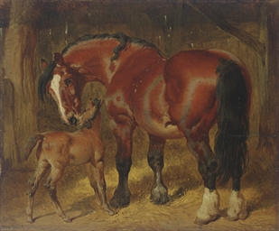 A mare with her foal in a stab