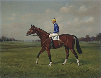 A bay racehorse with jockey up