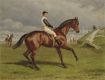Donovan with F. Barrett up, before winning the Newmarket Stakes, 1889
