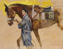 A groom with a racehorse