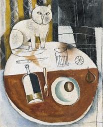 Tavolo tondo con gatto