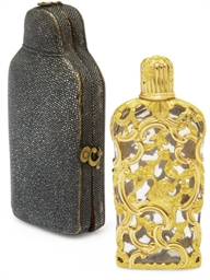AN ENGLISH GLASS SCENT BOTTLE