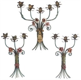 A GARNITURE OF THREE ITALIAN PAINTED IRON WALL APPLIQUES