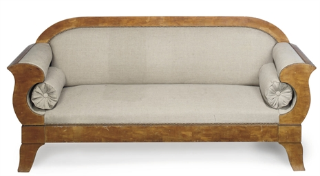A BIEDERMEIER SATIN BIRCH SOFA