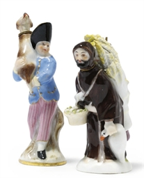 TWO MEISSEN FIGURAL GILT-METAL