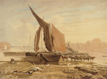 Loading barges on the Thames
