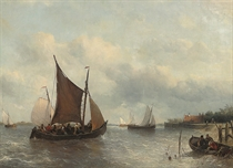 A crowded fishing barge tacking up a Dutch river estuary, probably the Scheldt